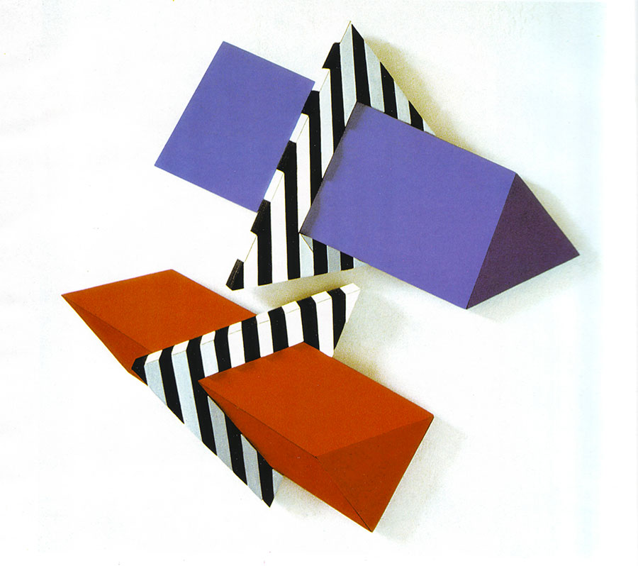 BLACK AND WHITE TRIANGLES, 2001, wooden object, 54x54 cm next
