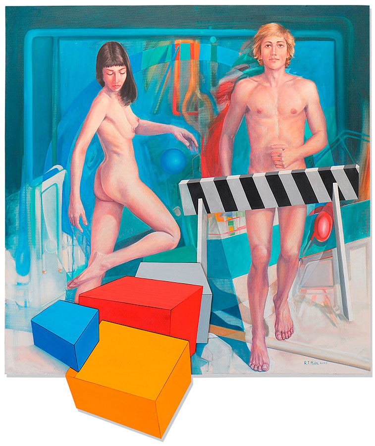 AWAY FROM THE CIRCLE, 2005/9, wooden objects and oil on canvas, 120x120 cm Expandnext