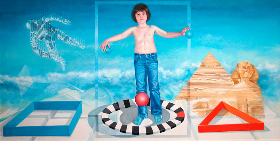 YESTERDAY, TODAY, TOMORROW, 2011, oil on canvas, 200x100 cm next