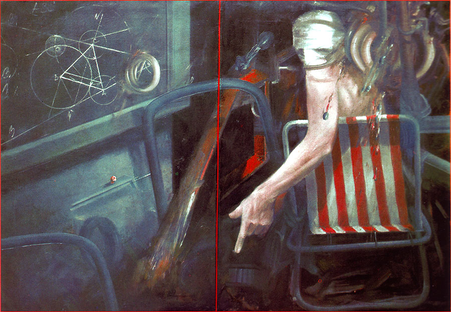EXPERIMENT, 1979-80, oil on canvas, diptych 98x67 cm (each panel)
