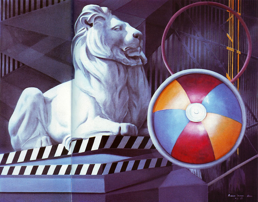 LIBRARY LION, 1983, oil on canvas, 110x140 cm