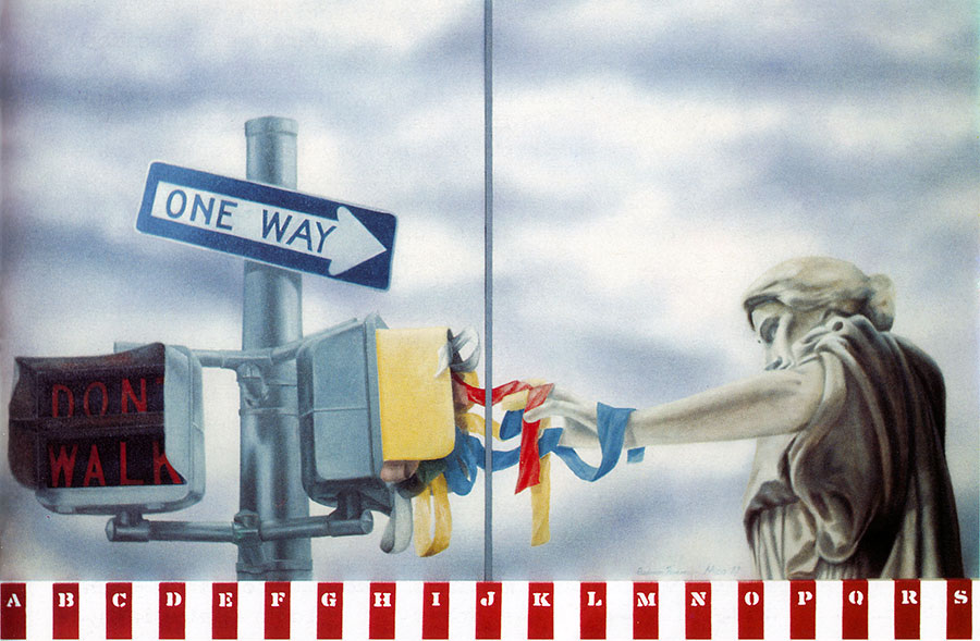ONE WAY, 1987, oil on canvas, diptych, 82x103 cm