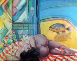 WOMAN AND FISH, 1987, oil on canvas, 123x123 cm