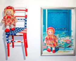 WE PLAY AND PAINT, 2006, doll, chair and oil on canvas, 70x100 cm next