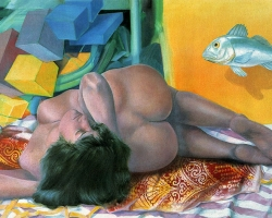 WOMAN AND FISH II, 1987, oil on canvas, 123x123 cm
