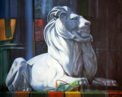 LIBRARY LION II, 1988, oil on canvas, 123x123 cm